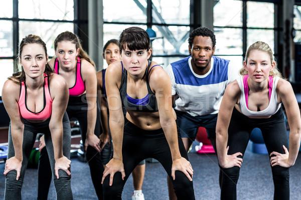 Dopasować grupy ręce kolano siłowni kobieta Zdjęcia stock © wavebreak_media
