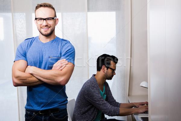 Mutlu eşcinsel çift ofis bilgisayar Stok fotoğraf © wavebreak_media