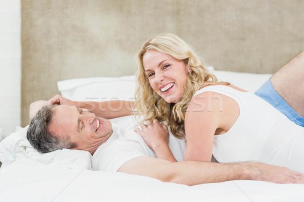 Cute пару кровать комнату женщину Сток-фото © wavebreak_media