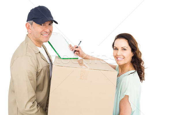 Női vásárló aláírás papír futár fehér Stock fotó © wavebreak_media