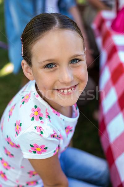 улыбаясь девочку празднование дня рождения парка вечеринка ребенка Сток-фото © wavebreak_media