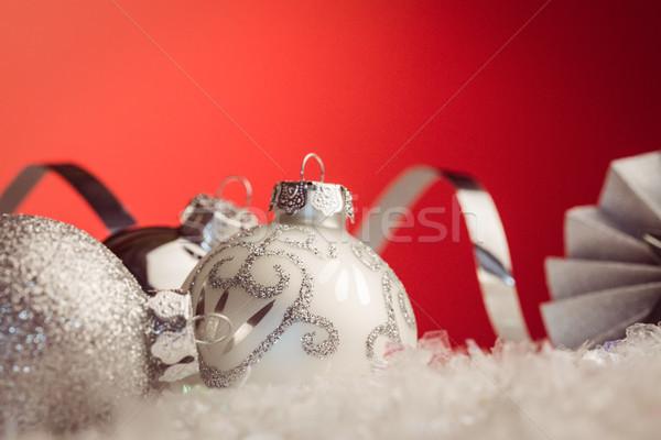 Közelkép kilátás karácsony csecsebecse piros fény Stock fotó © wavebreak_media