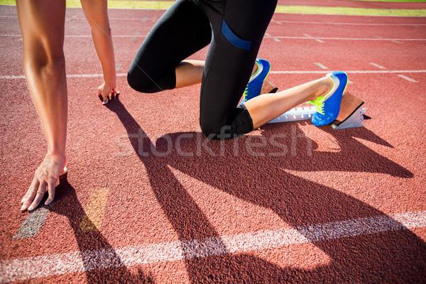 Female athlete ready to run Stock photo © wavebreak_media