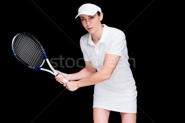 Vrouwelijke atleet spelen tennis zwarte lichaam Stockfoto © wavebreak_media