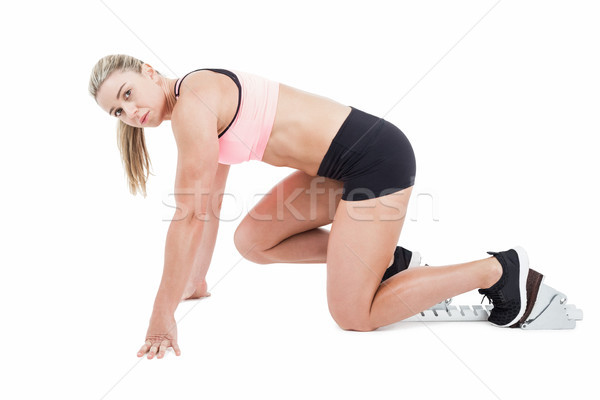 Female athlete on the start line Stock photo © wavebreak_media