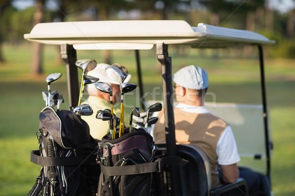 вид сзади гольфист друзей сидят гольф Сток-фото © wavebreak_media
