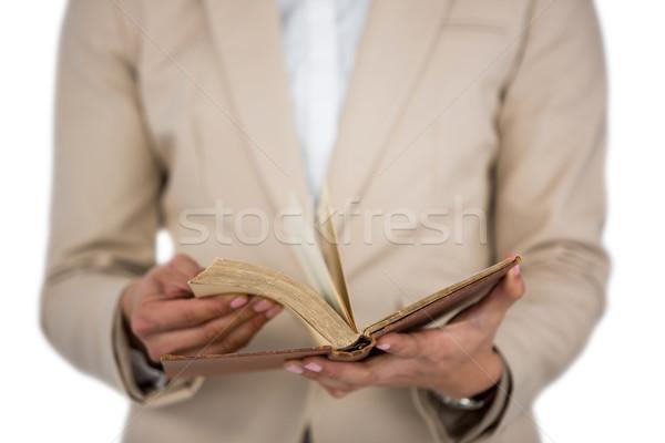 Középső rész üzletasszony oldalak könyv fehér nő Stock fotó © wavebreak_media