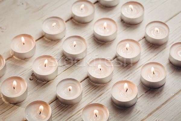 キャンドル 燃焼 木製のテーブル クリスマス 時間 木材 ストックフォト © wavebreak_media