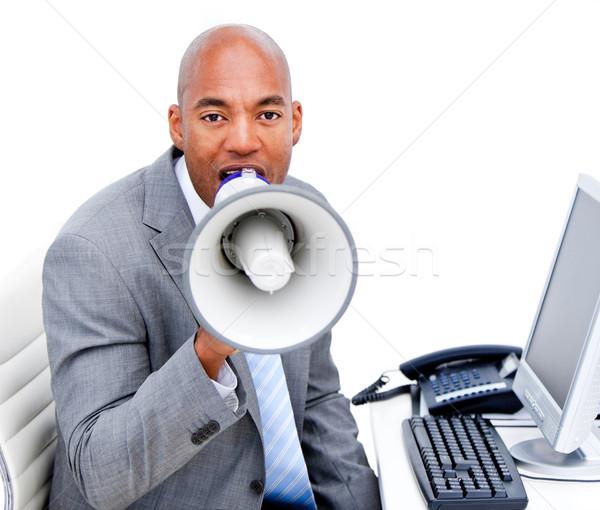 Colère affaires mégaphone bureau ordinateur Photo stock © wavebreak_media