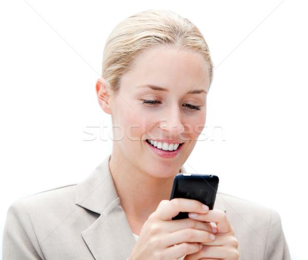 Portré vidám üzletasszony küldés szöveg üzlet Stock fotó © wavebreak_media