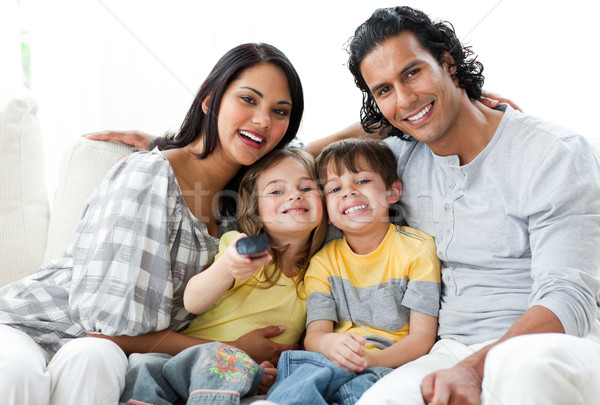 Lively family watching TV  together  Stock photo © wavebreak_media