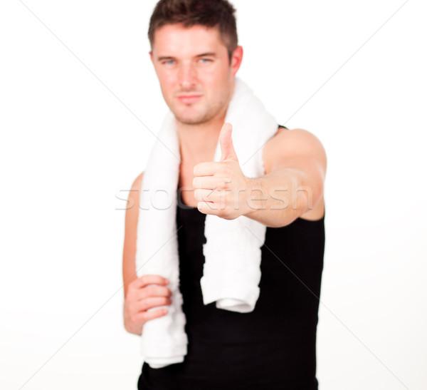 Homem comprometido fitness exercício água corpo Foto stock © wavebreak_media