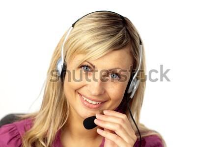 Mulher de negócios falante fone jovem empresária negócio Foto stock © wavebreak_media