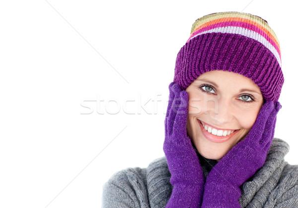Mosolygó nő tart fej kezek fehér arc Stock fotó © wavebreak_media