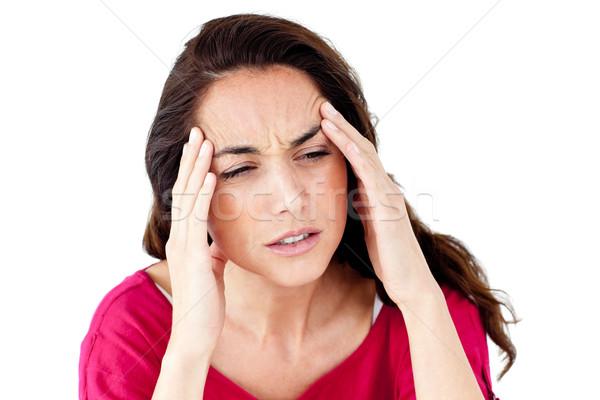 Hispanos mujer dolor de cabeza blanco medicina retrato Foto stock © wavebreak_media