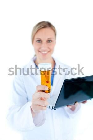 Foto stock: Mulher · atraente · médico · pílulas · sessão