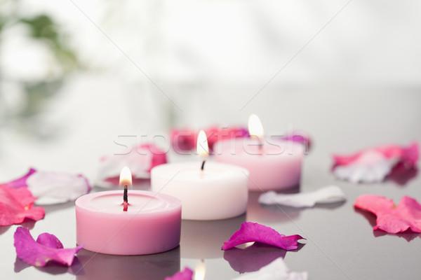 Kerzen Blütenblätter Frühling Blatt Gesundheit Hintergrund Stock foto © wavebreak_media