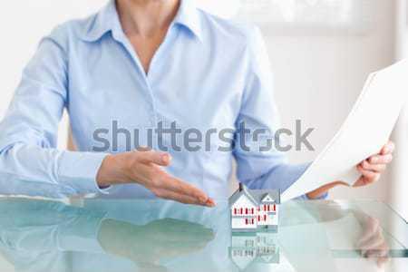 Stock foto: Miniatur · Haus · gut · aussehend · Frau · Büro · Arbeit
