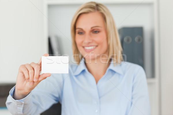 Stock fotó: Szőke · nő · üzletasszony · tart · kártya · iroda · üzlet