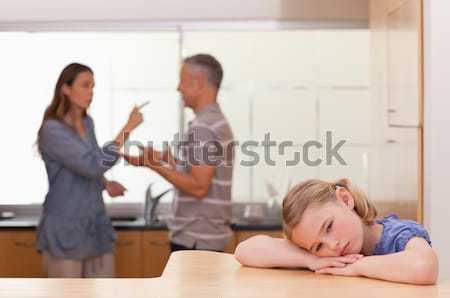 печально девочку прослушивании родителей аргумент кухне Сток-фото © wavebreak_media
