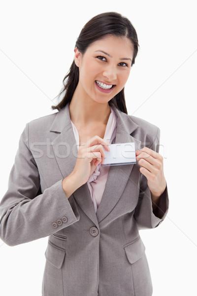 Sonriendo mujer de negocios nombre placa blanco negocios Foto stock © wavebreak_media