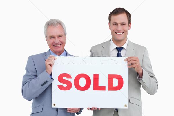 Mosolyog ingatlan tart eladva felirat fehér Stock fotó © wavebreak_media