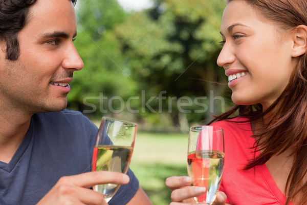 Close-up of two friends happily looking at each other while smiling and holding glasses of champagne Stock photo © wavebreak_media