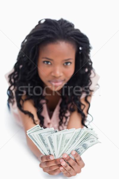 Młoda kobieta amerykański dolarów ręce biały Zdjęcia stock © wavebreak_media