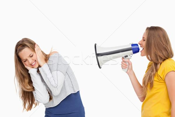 Estudante alto-falante outro menina branco Foto stock © wavebreak_media
