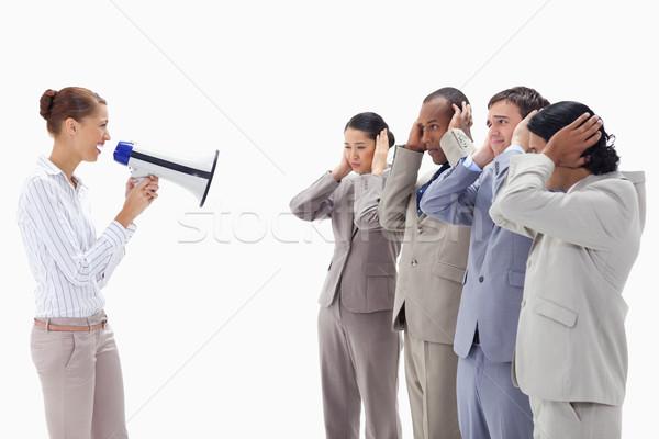 Kobieta szczęśliwie megafon ludzi biznesu ręce Zdjęcia stock © wavebreak_media