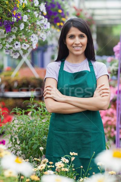 Portre neşeli bahçıvan bahçe merkez mutlu Stok fotoğraf © wavebreak_media