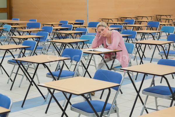 студент сидят говорить столе пусто экзамен Сток-фото © wavebreak_media