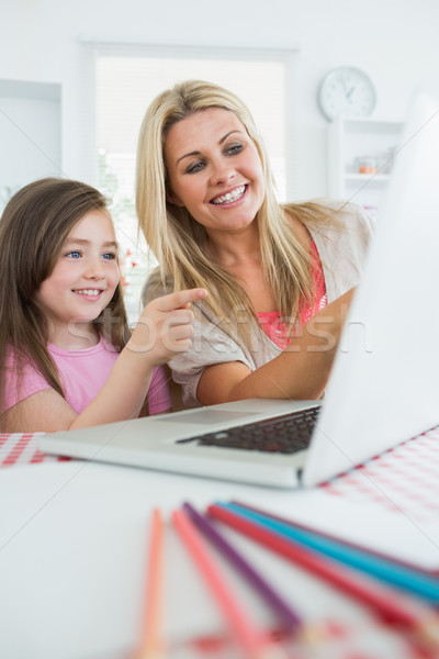 Mother and girl sitting at the laptop smiling and pointing in the kitchen Stock photo © wavebreak_media