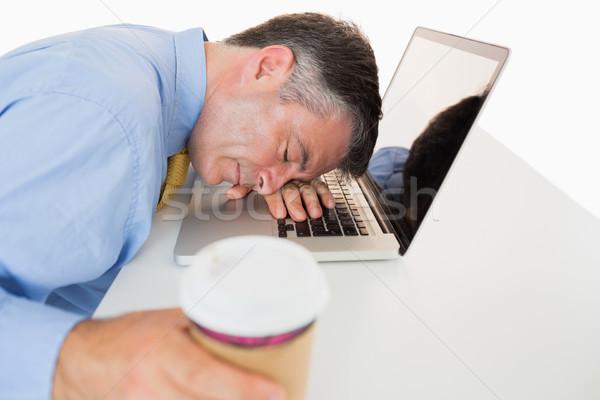 Bitkin adam kahve uyku dizüstü bilgisayar Stok fotoğraf © wavebreak_media