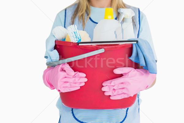 Stok fotoğraf: Kadın · temizlik · kova · beyaz · kadın