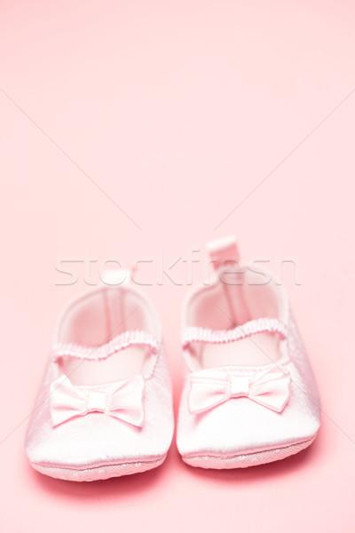 Lánycsecsemők rózsaszín copy space cipők szalag csizma Stock fotó © wavebreak_media