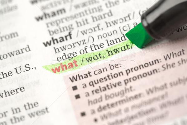 Definizione cosa dizionario carta verde nero Foto d'archivio © wavebreak_media