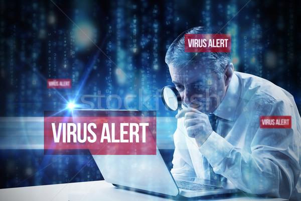 Virüs uyarmak hatları mavi bulanık harfler Stok fotoğraf © wavebreak_media