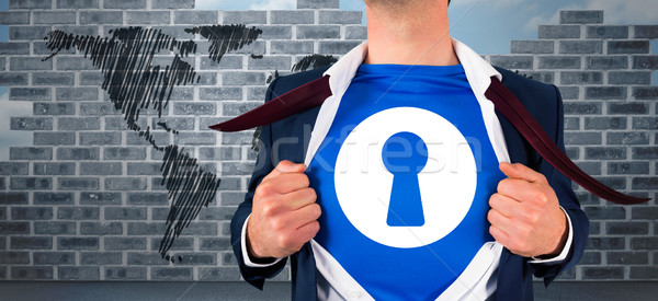 Obraz biznesmen otwarcie shirt superhero Zdjęcia stock © wavebreak_media