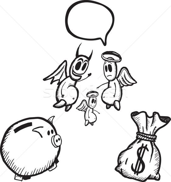 Spaargeld illustraties witte digitale kwaad duivel Stockfoto © wavebreak_media