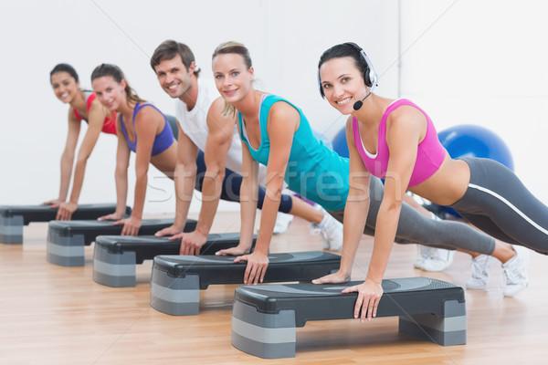 Stok fotoğraf: Uygunluk · sınıf · adım · aerobik · egzersiz · yandan · görünüş