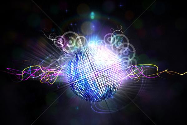 Digitaal gegenereerde disco ball zwarte partij Stockfoto © wavebreak_media