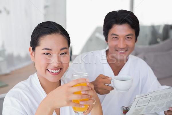Paar ochtend samen home woonkamer huis Stockfoto © wavebreak_media
