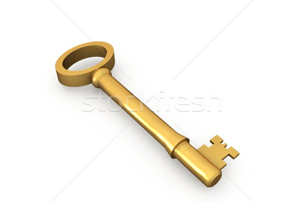Digitaal gegenereerde goud sleutel witte Stockfoto © wavebreak_media