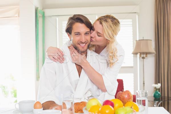 Sevimli çift kahvaltı birlikte ev oturma odası Stok fotoğraf © wavebreak_media