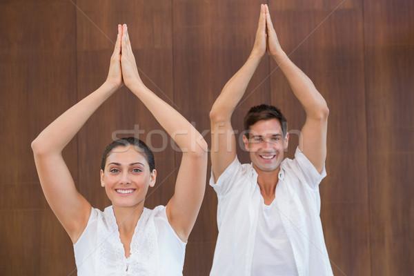 мирный пару белый йога вместе рук Сток-фото © wavebreak_media