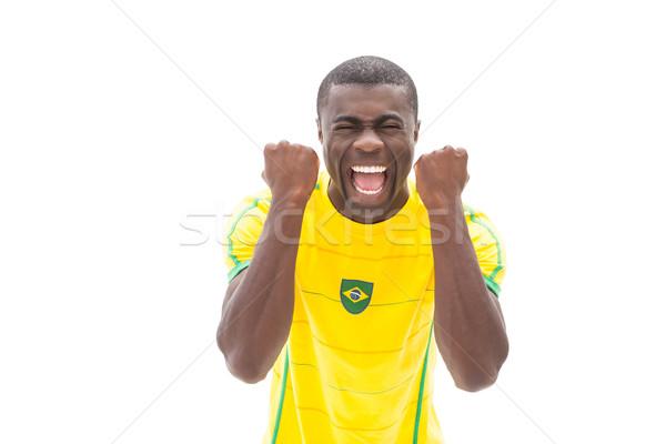 Excité football fan blanche sport Photo stock © wavebreak_media