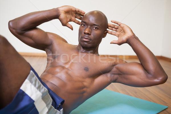 Kas adam karın spor salonu portre spor Stok fotoğraf © wavebreak_media