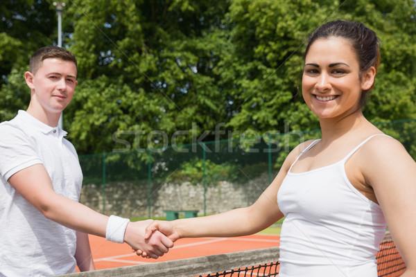 Tenis el sıkışmak maç spor uygunluk Stok fotoğraf © wavebreak_media