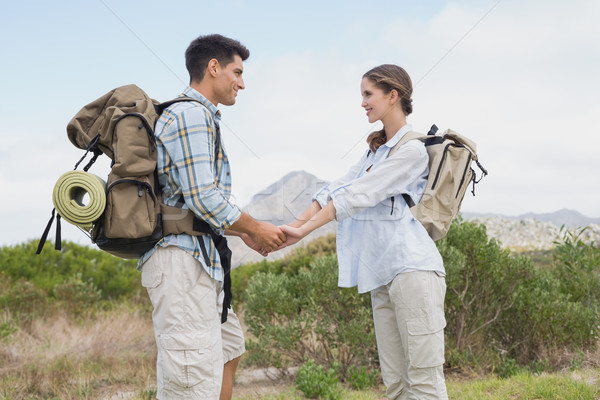 Hiking couple holding hands on mountain terrain Stock photo © wavebreak_media